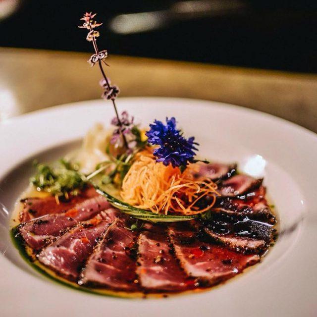 NewStyle Yuzu Gyuniku Sashimi topped with seasonal vegetables and montrealhellip